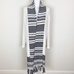 H&M Aztec fringe black and white cardigan sweater
